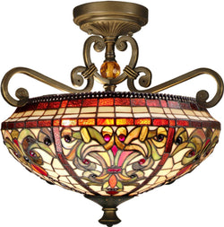 Dale Tiffany Baroque 2-Light Flush Mount Antique Golden Sand TH13090