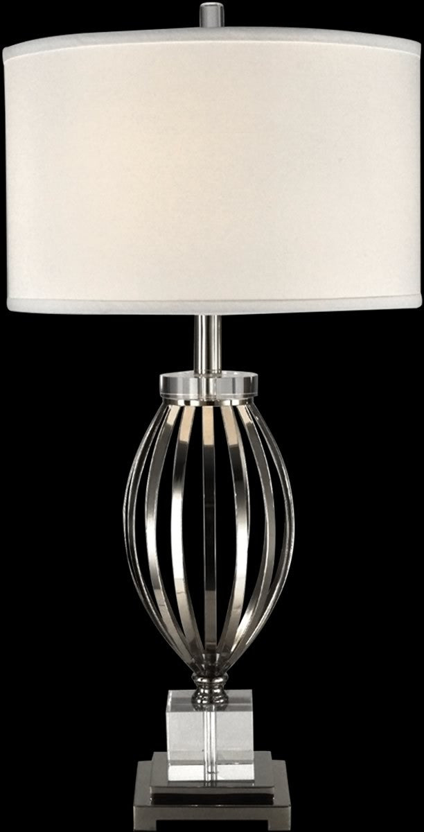 Bird cage crystal table lamp polished nickel