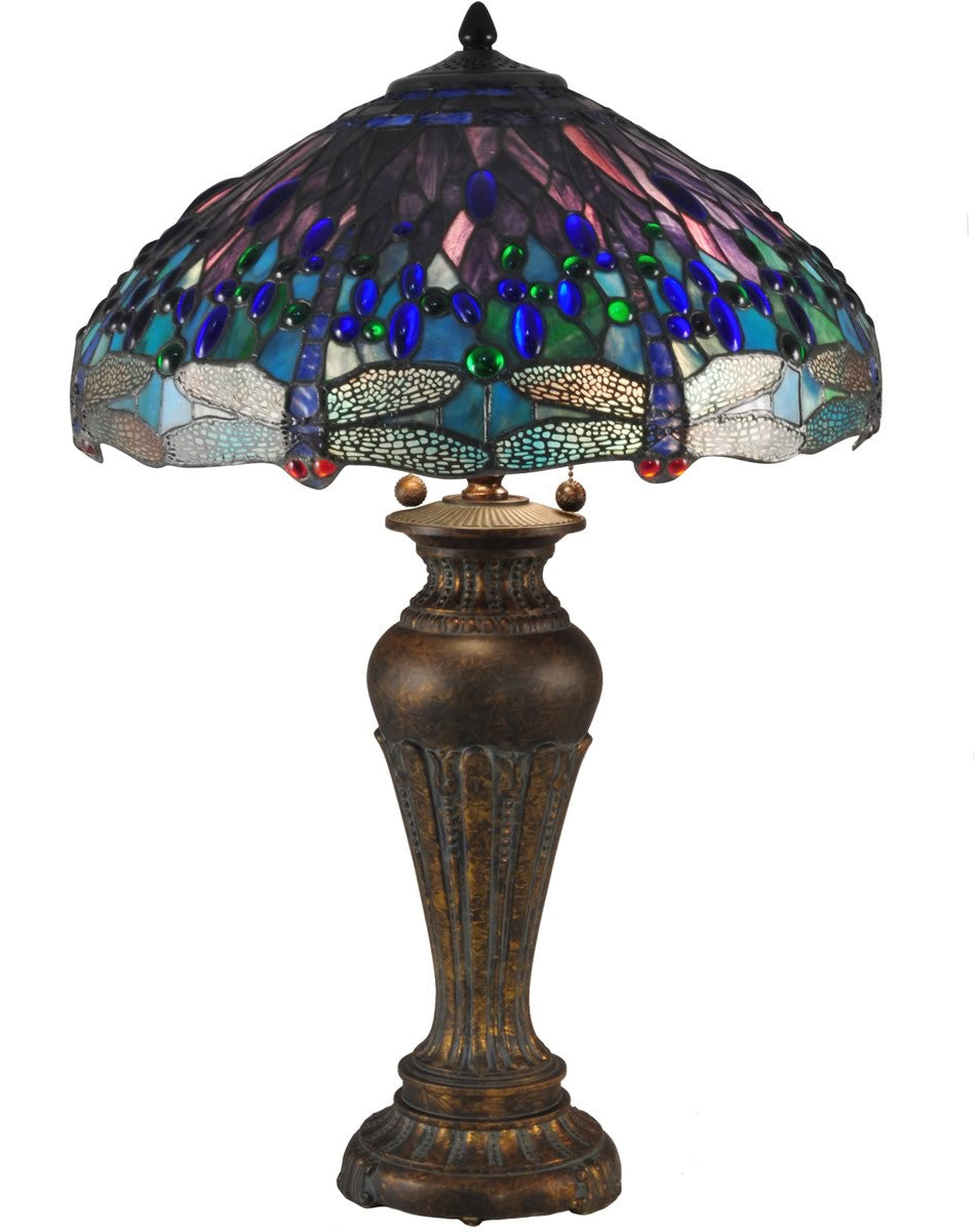"29""H Blue Dragonfly Tiffany Table Lamp Antique Bronze"