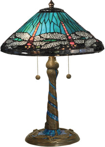 Dale Tiffany Blue Dragonfly Tiffany Table Lamp Antique Bronze TT15159