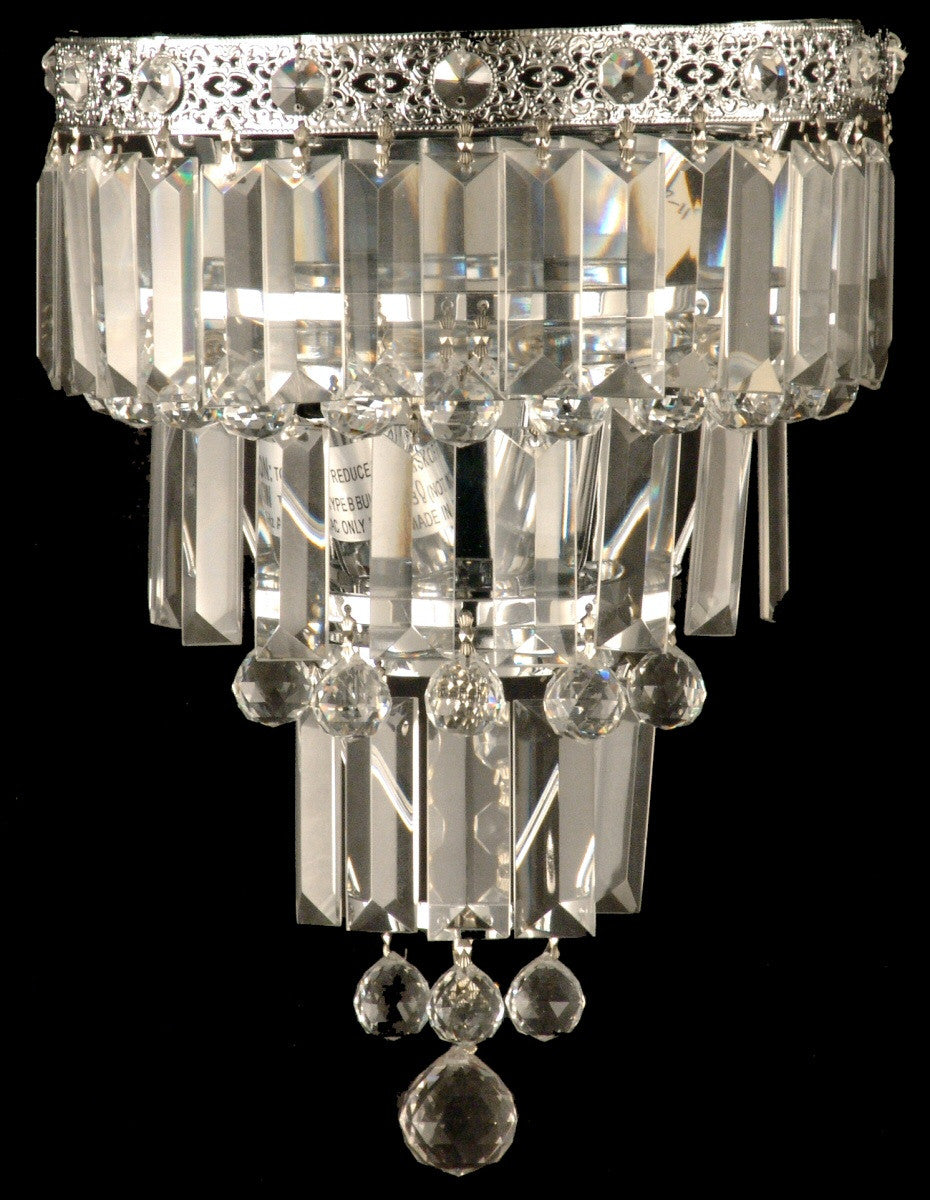 "9""W 2-Light Glass Wall Sconce Polished Chrome"
