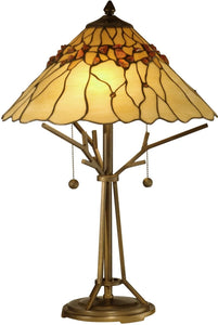 "23""h 2-Light Tiffany Table Lamp Antique Bronze"