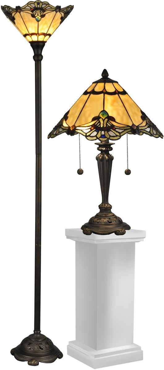 "Brena 19.5"" 3-Light Table Lamp And 70"" Floor Lamp Set Dark Antique Bronze"