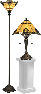 Dale Tiffany Brena 19.5 3-Light Table Lamp And 70 Floor Lamp Set Dark Antique Bronze TC12179