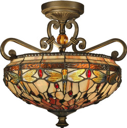 Dale Tiffany Briar 2-Light Flush Mount Antique Golden Sand TH10099