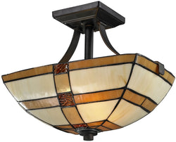 Dale Tiffany Brisdol 2-Light Semi Flush Fixture Dark Bronze TH12455
