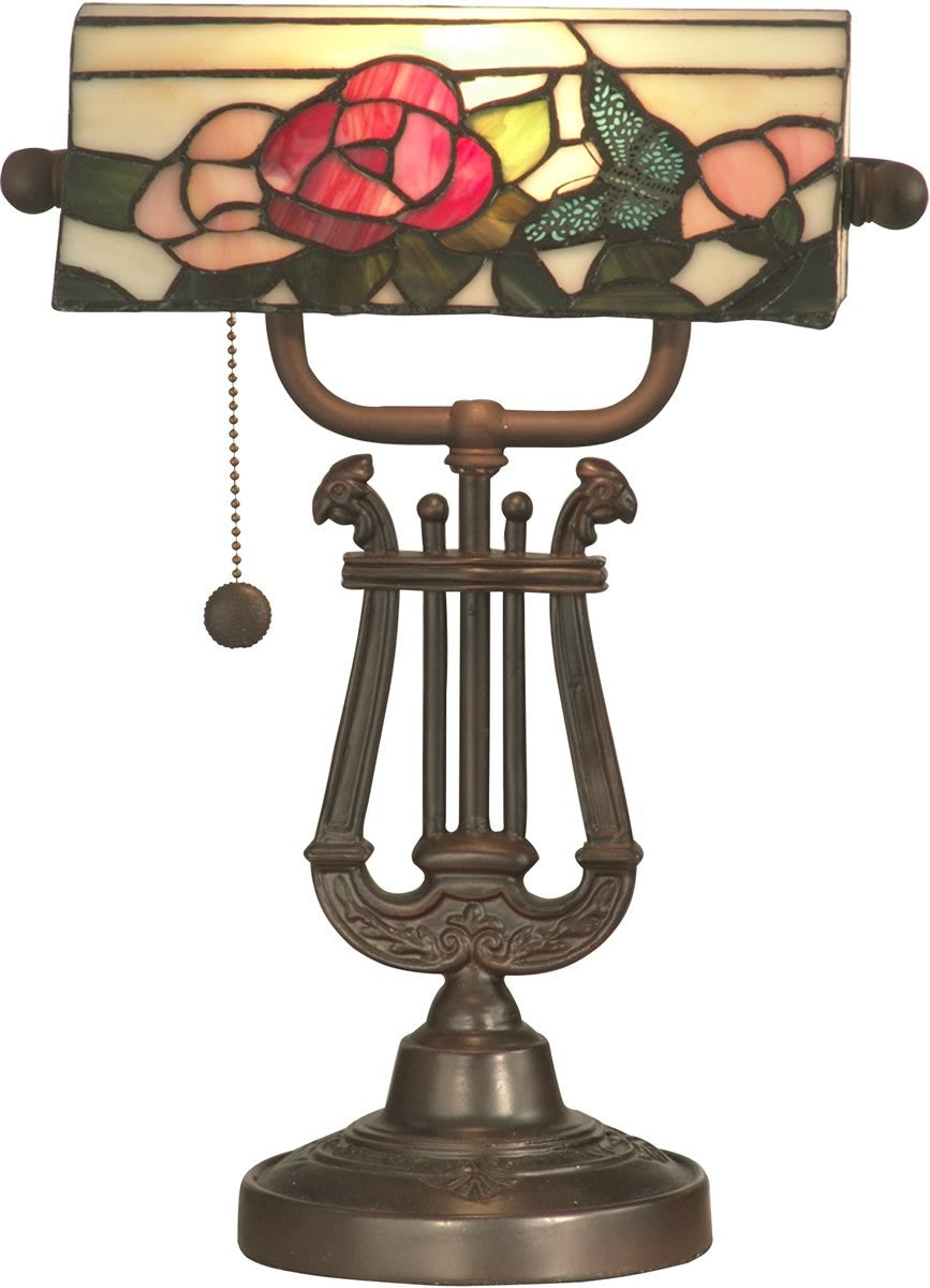 "15""h Rose and Butterfly 1-Light Tiffany Accent Lamp Antique Bronze"