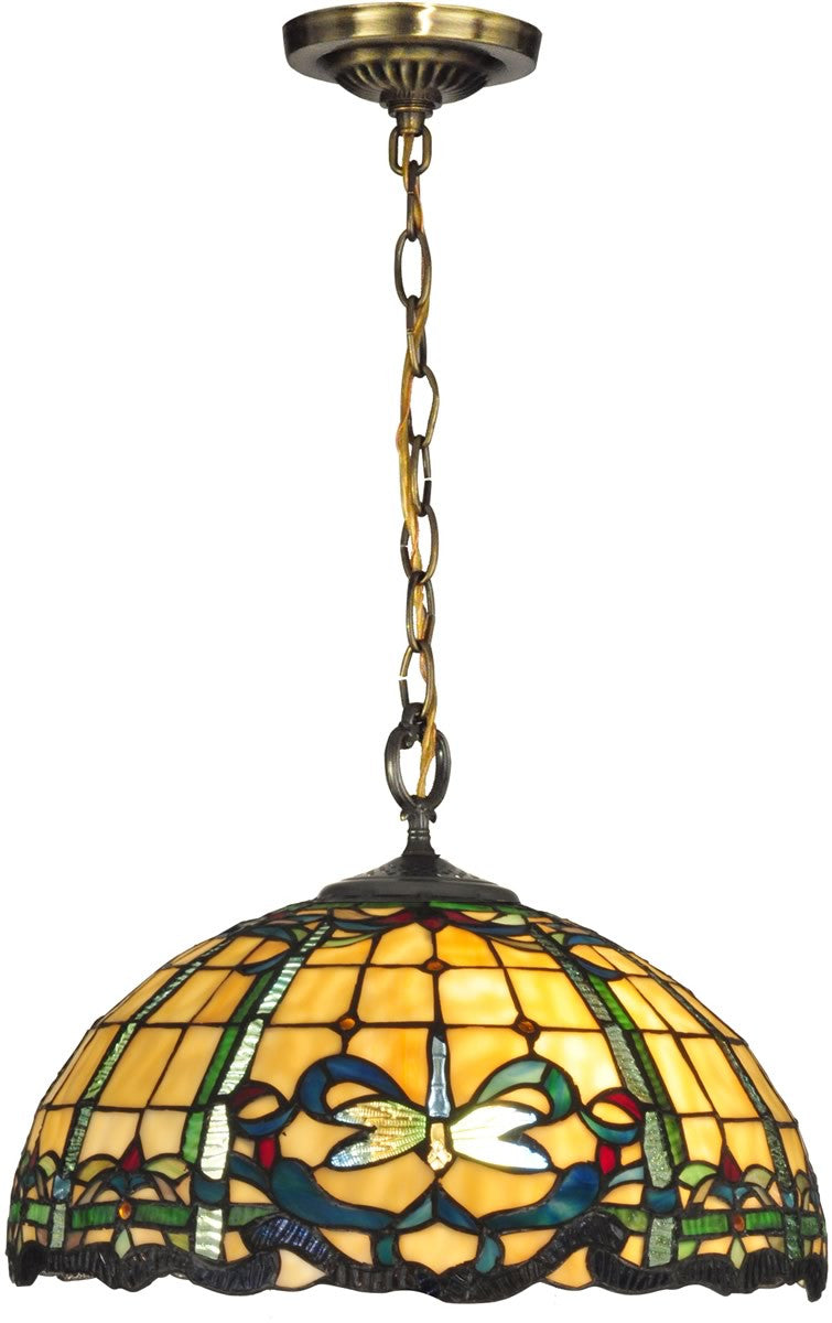 "16""w Cabrini 1-Light Pendant Antique Brass"