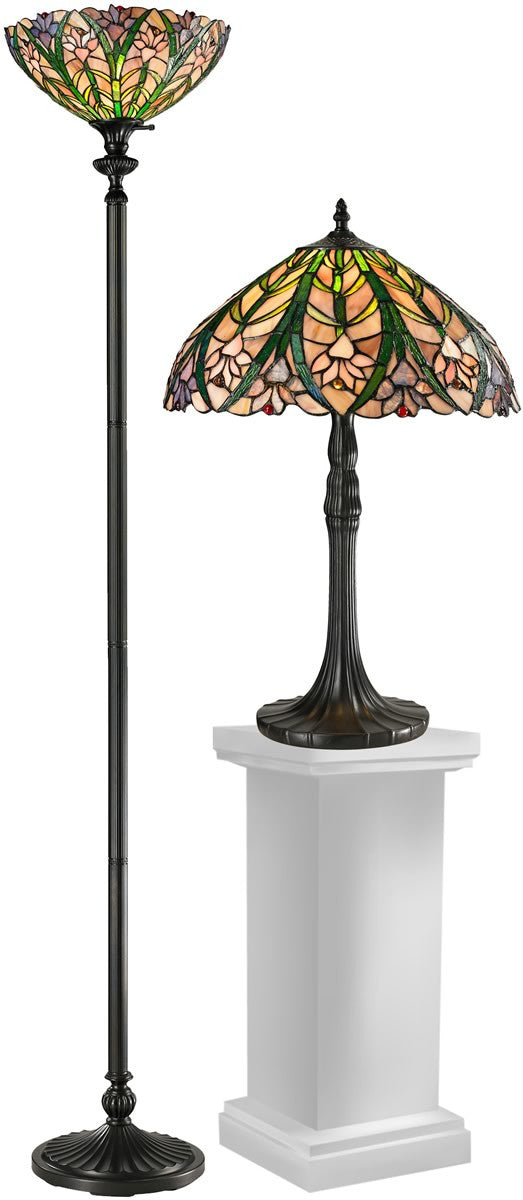 "72""H Cactus Bloom  2-Light Table Lamp And Floor Lamp Set Antique Bronze"