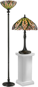 Dale Tiffany Cactus Bloom 21.5 2-Light Table Lamp And 71.5 Floor Lamp Set Antique Bronze TC12339