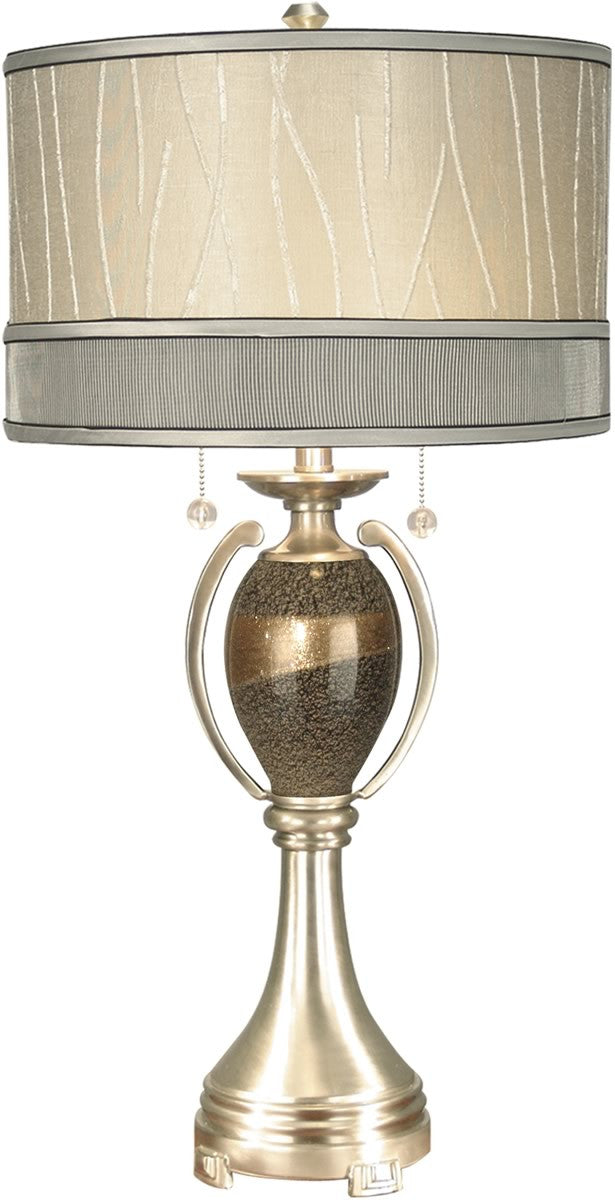 "32""h 2-Light Art Glass Table Lamp Satin Nickel"