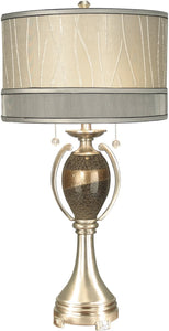 Dale Tiffany 2-Light Art Glass Table Lamp Satin Nickel PG10004
