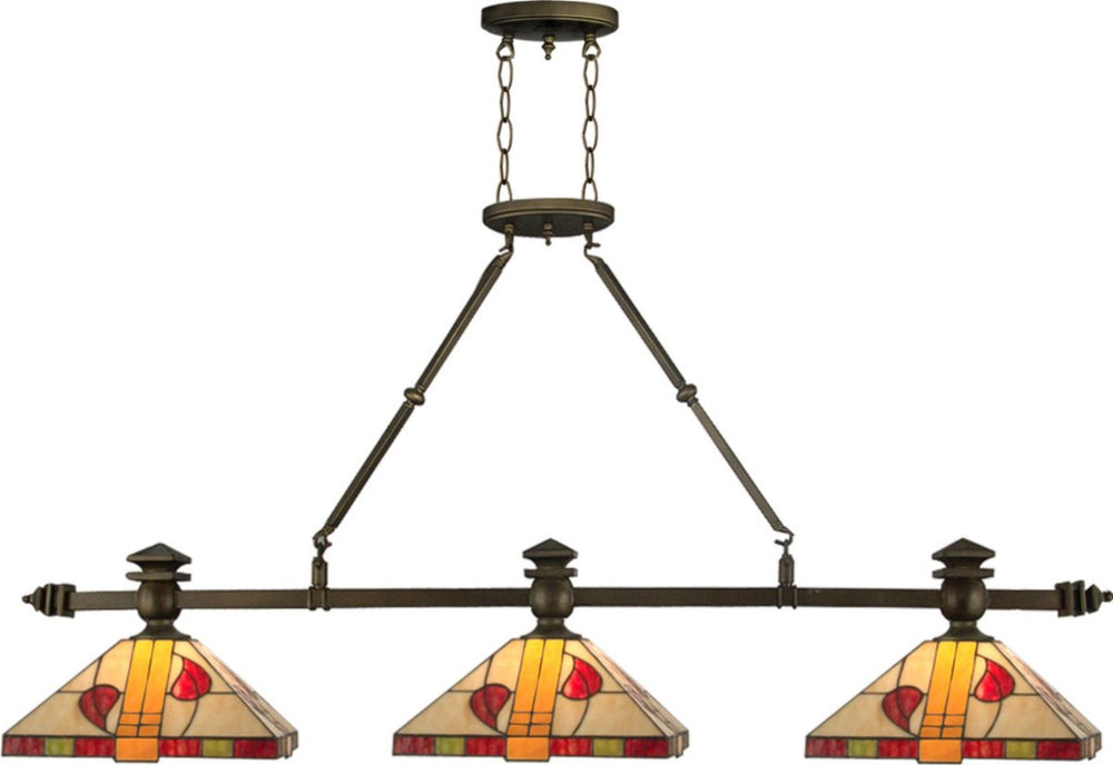 "56""W Carnaby 3-Light Island Light Antique Brass"