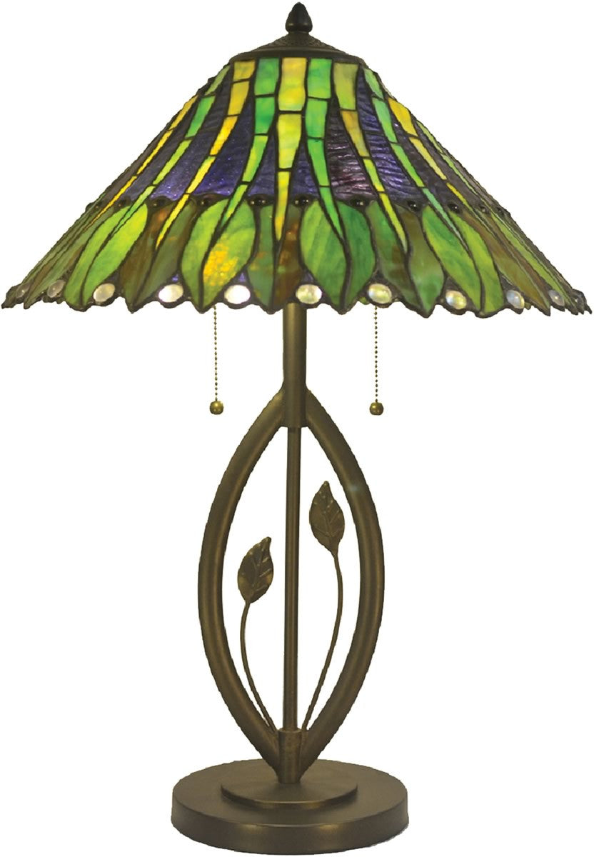 "26""H Carnes Tiffany Table Lamp Antique Bronze"