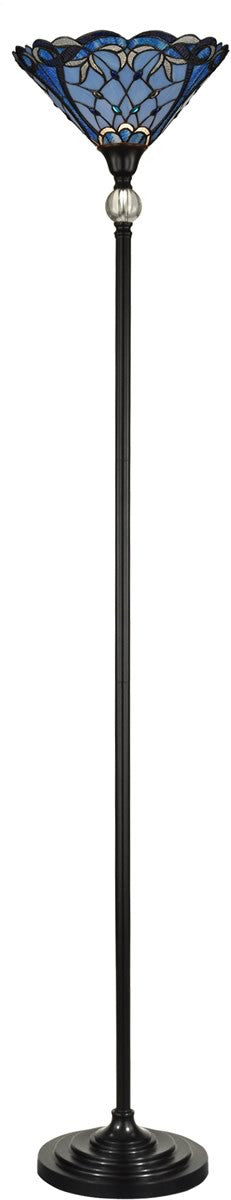 "Celeste 71""H 1-Light Tiffany Torchiere Floor Lamp Dark Antique Bronze"