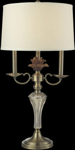 Champagne Crystal Table Lamp Antique Brass