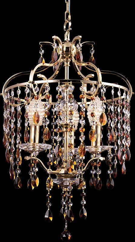 "16""w Champagne 3-Light Chandelier Gold"