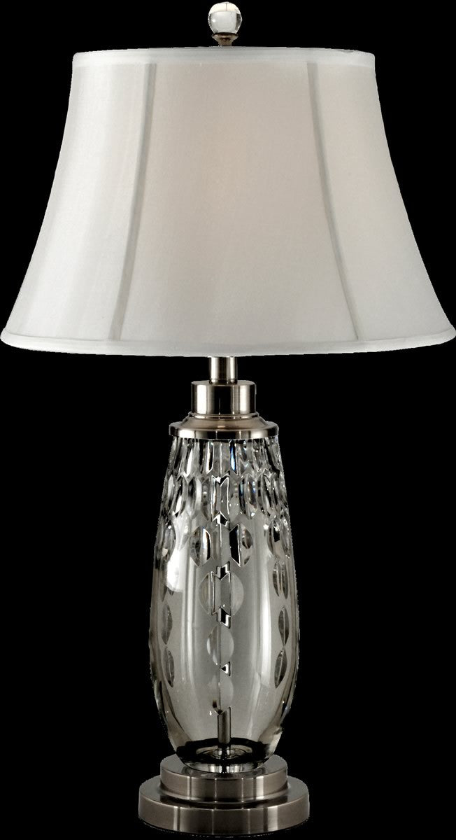 "28""H Clear Marble Crystal Table Lamp Antique Nickel"