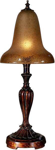 Dale Tiffany 1-Light Art Glass Table Lamp Antique Pewter/Gold PT100523