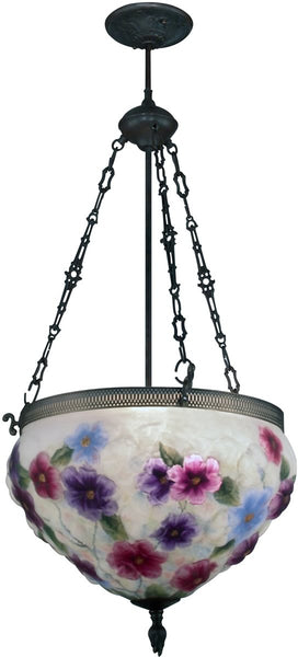 Dale Tiffany 3-Light Art Glass Hanging Fixture Antique Bronze 102373LTE
