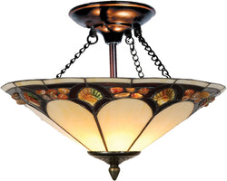 "16""w 2-Light Tiffany Flush Mount Antique Bronze"