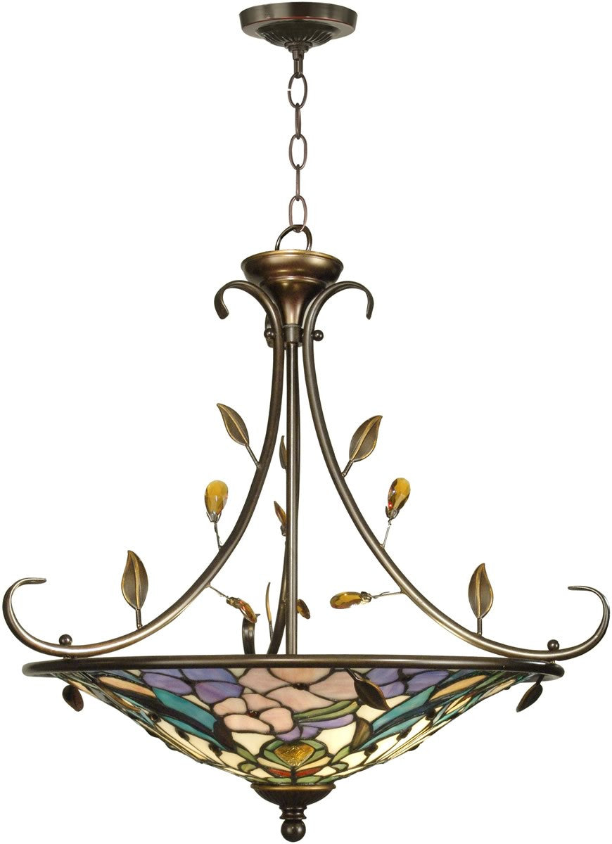 "25""w 2-Light Tiffany Hanging Fixture Antique Golden Sand"