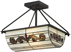 Dale Tiffany Cupertino 2-Light Semi Flush Fixture Matte Coffee Black TH12461