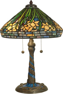 Dale Tiffany 2-Light Tiffany Table Lamp Antique Verde TT10344