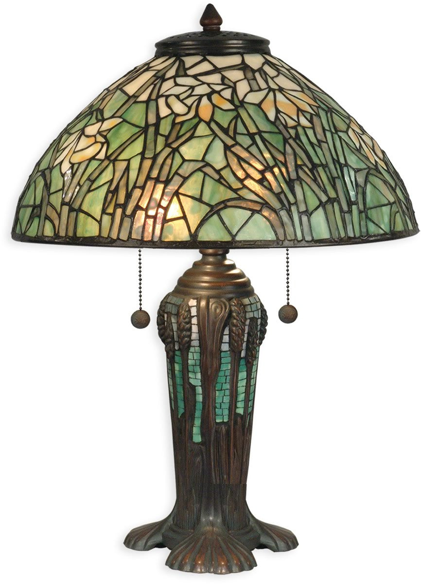 "22""h 2-Light Tiffany Table Lamp Antique Bronze Verde Green"