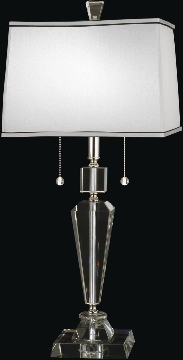 "27""H Danbrook Crystal 2-Light Table Lamp Satin Nickel"