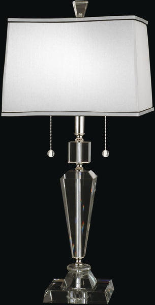 Dale Tiffany Danbrook Crystal 2-Light Table Lamp Satin Nickel GT12079