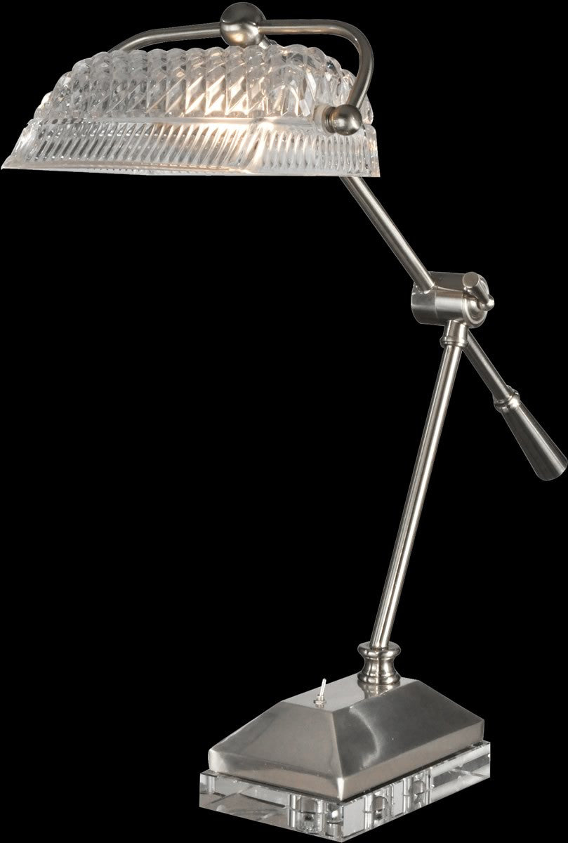 Devlin Glass Desk Lamp Satin Nickel