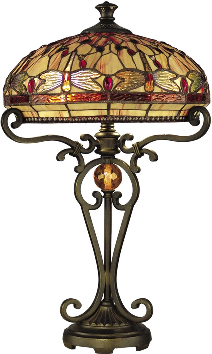 "24""h Dragonfly 2-Light Tiffany Table Lamp Antique Golden Sand"