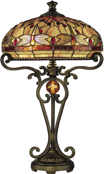Dale Tiffany 2-Light Tiffany Table Lamp Antique Golden Sand TT10095