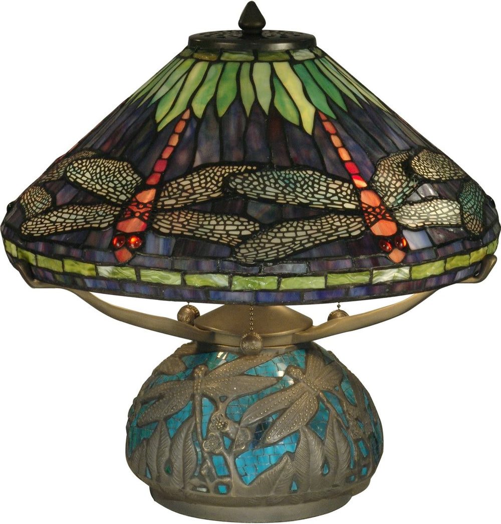 "17""h Dragonfly 3-Light Tiffany Table Lamp Antique Bronze"