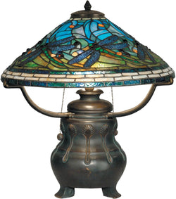 Dale Tiffany 3-Light Tiffany Table Lamp Antique Verde TT90421