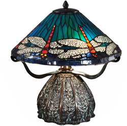 Dragonfly Trunk Tiffany Table Lamp Antique Bronze