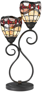 Dale Tiffany Fall River 2-Light Table Lamp Dark Bronze TT12426