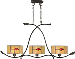 Dale Tiffany Fantom Leaf 3-Light Kitchen Island Light Rustic Bronze TH12451