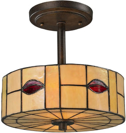 "11""w Fantom Leaf 1-Light Semi Flush Fixture Rustic Bronze"