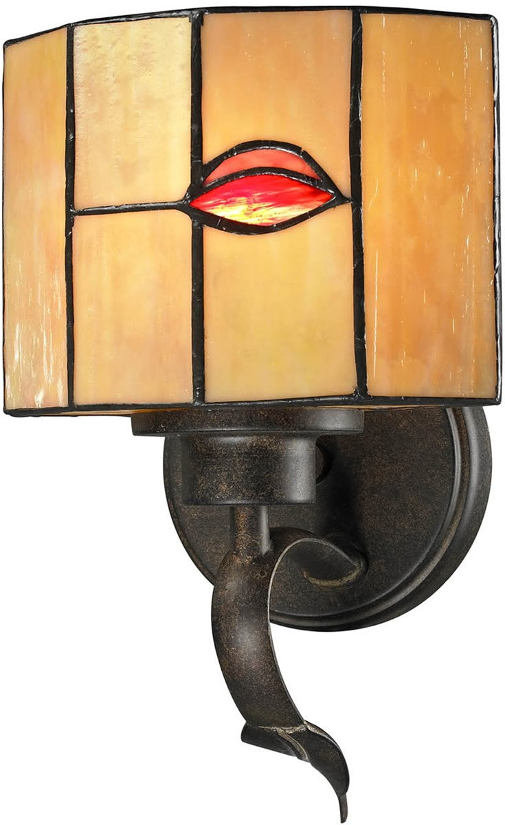 "7""w Fantom Leaf 1-Light Wall Sconce Rustic Bronze"