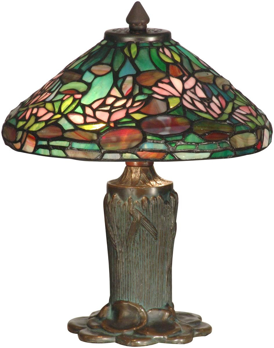 "12""h 2-Light Tiffany Table Lamp Antique Bronze"