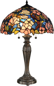 Floral Tiffany Table Lamp Antique Bronze