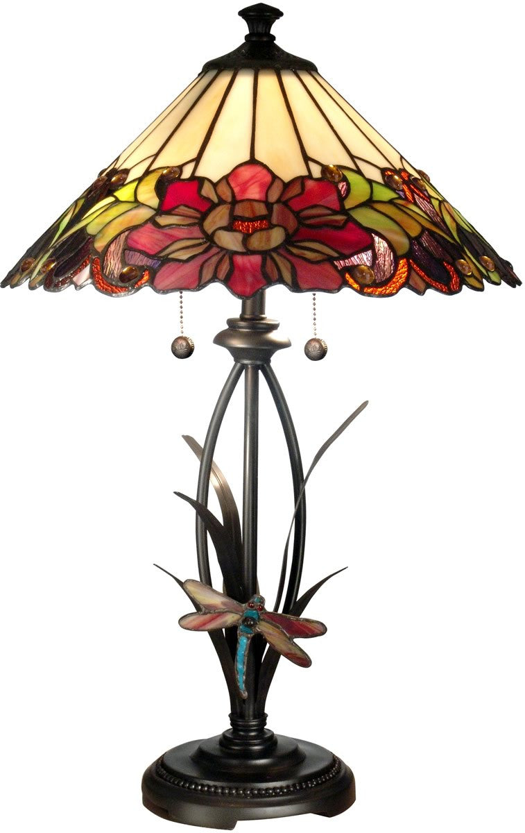 "25""H 2-Light Tiffany Table Lamp Antique Bronze"