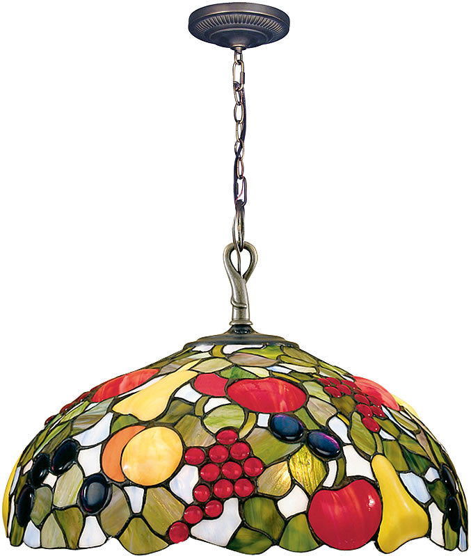 "16""w Fruit with Jewels Pendant Antique Brass"