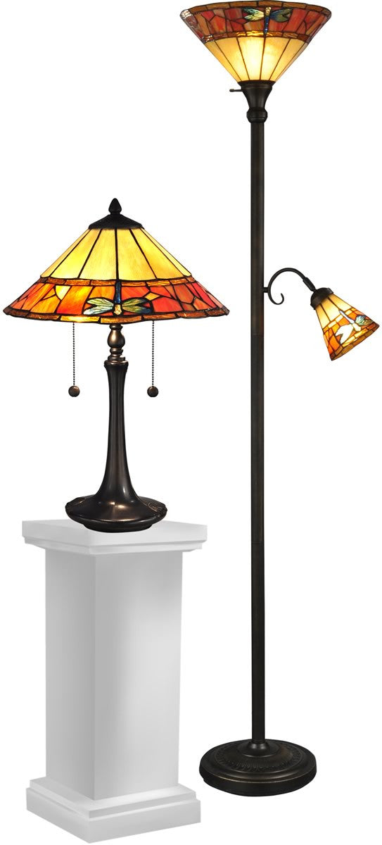 "70""H Genoa Dragonfly 4-Light Table Lamp And Floor Lamp Set Antique Brass"