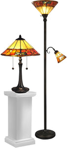 "Genoa Dragonfly 21"" 4-Light Table Lamp And 70"" Floor Lamp Set Antique Brass"