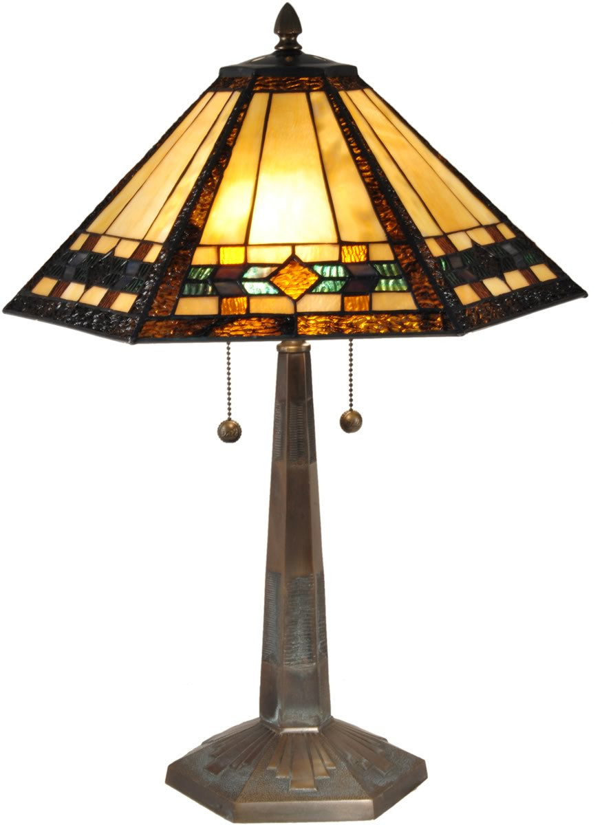 "25""H Ginger Diamond Tiffany Table Lamp Antique Bronze"