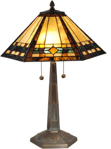 Dale Tiffany Ginger Diamond Tiffany Table Lamp Antique Bronze TT15080