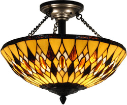 Ginger Tiffany Semi Flush Antique Bronze